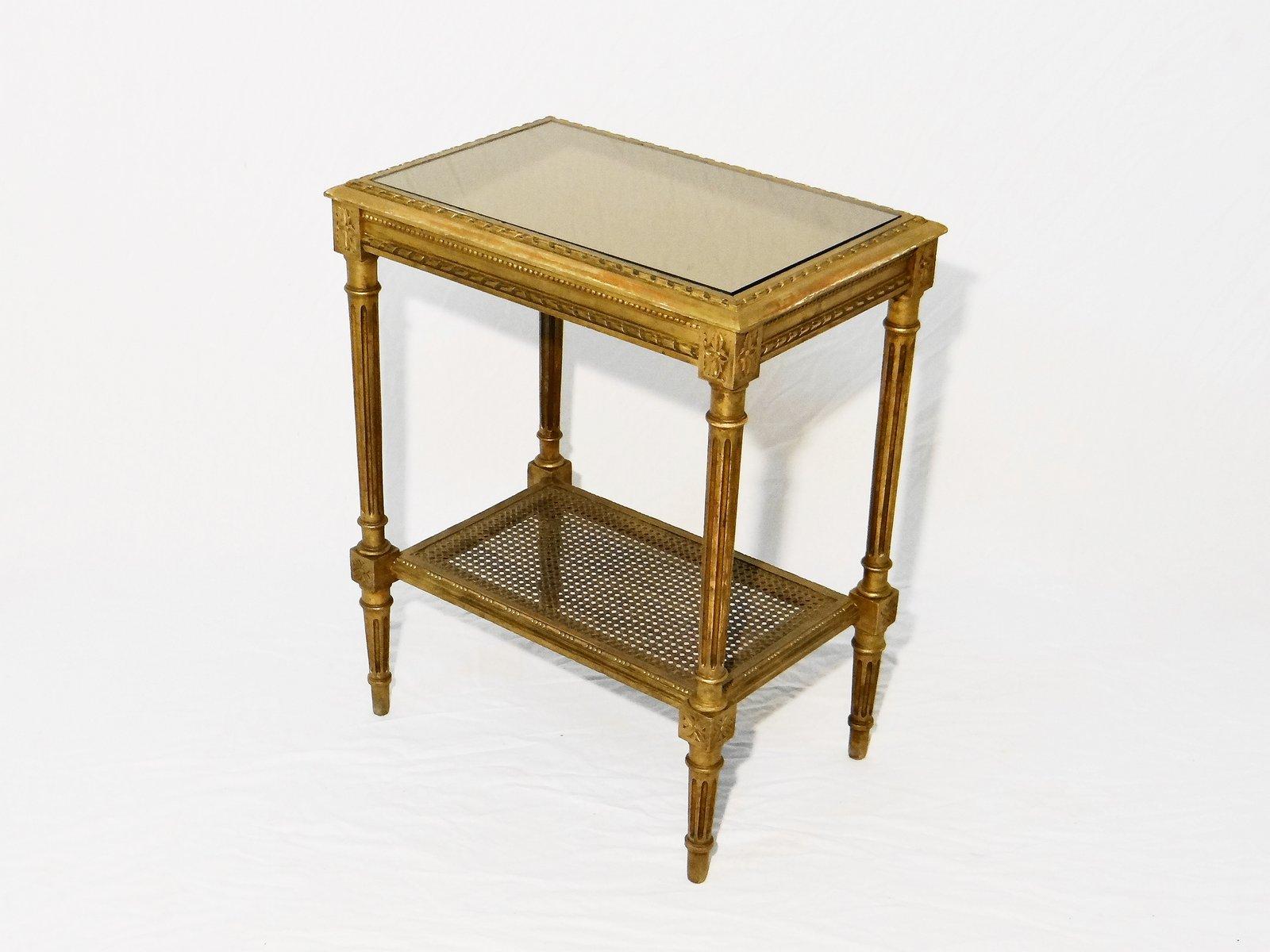 vergoldeter tisch aus holz 1950er bei pamono kaufen. Black Bedroom Furniture Sets. Home Design Ideas