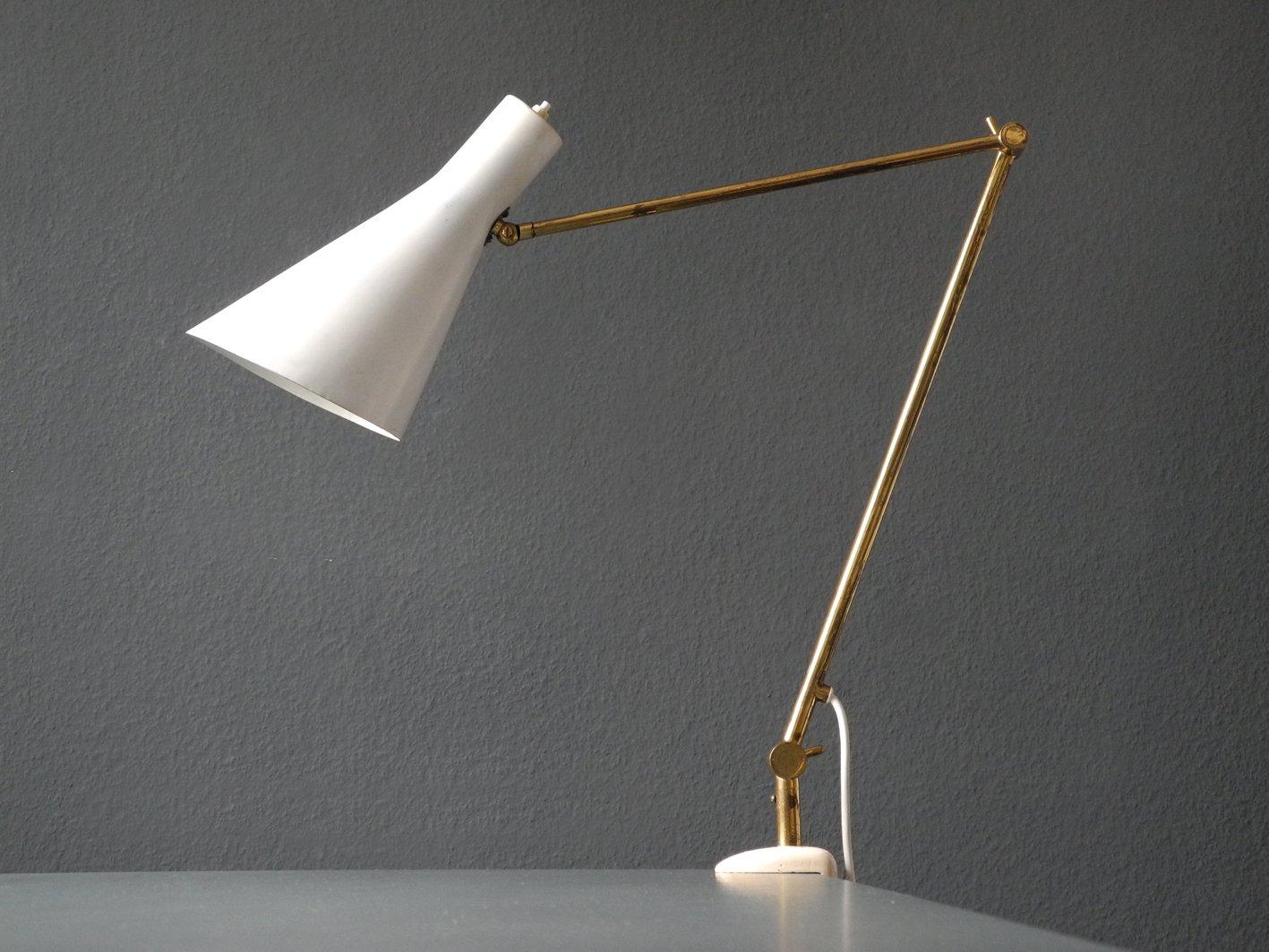 Italienische Mid-Century Modern Klemmplampe aus Messing mit Konischer ...