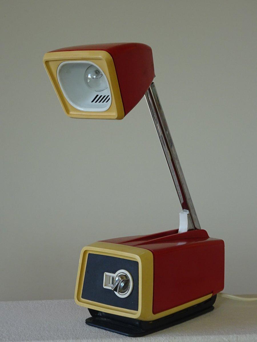 Teleskop-Tischleuchte in Rot und Gelb von Solis, 1960er