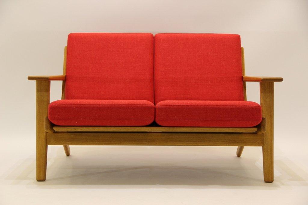 Vintage 2-Sitzer Sofa aus Eiche und Wolle von Hans J. Wegner für Getam...