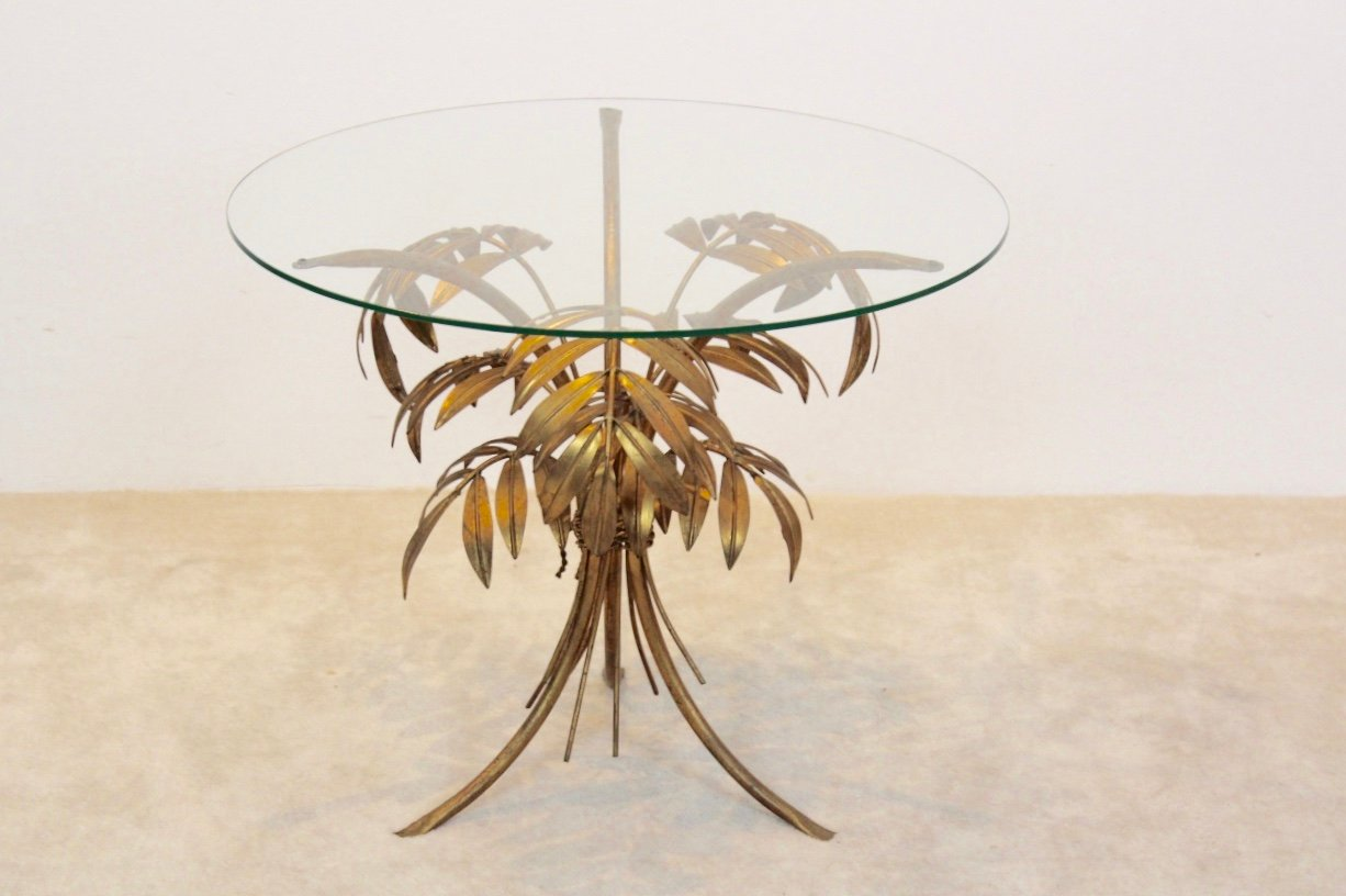 Hollywood Regency Gilt Palm Tree Coffee Table From Hans Kögl 1970s