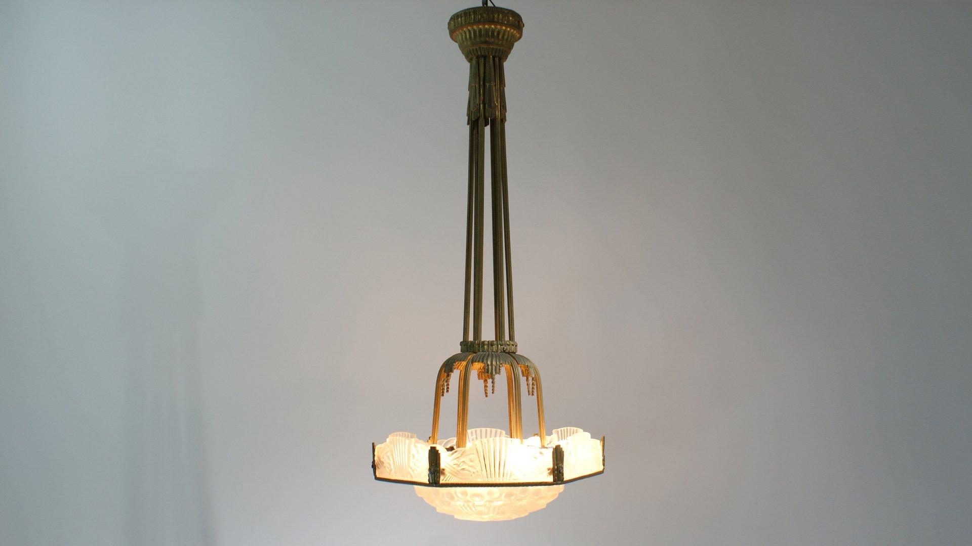 suspension art d co par georges leuleu france 1920s en vente sur pamono. Black Bedroom Furniture Sets. Home Design Ideas