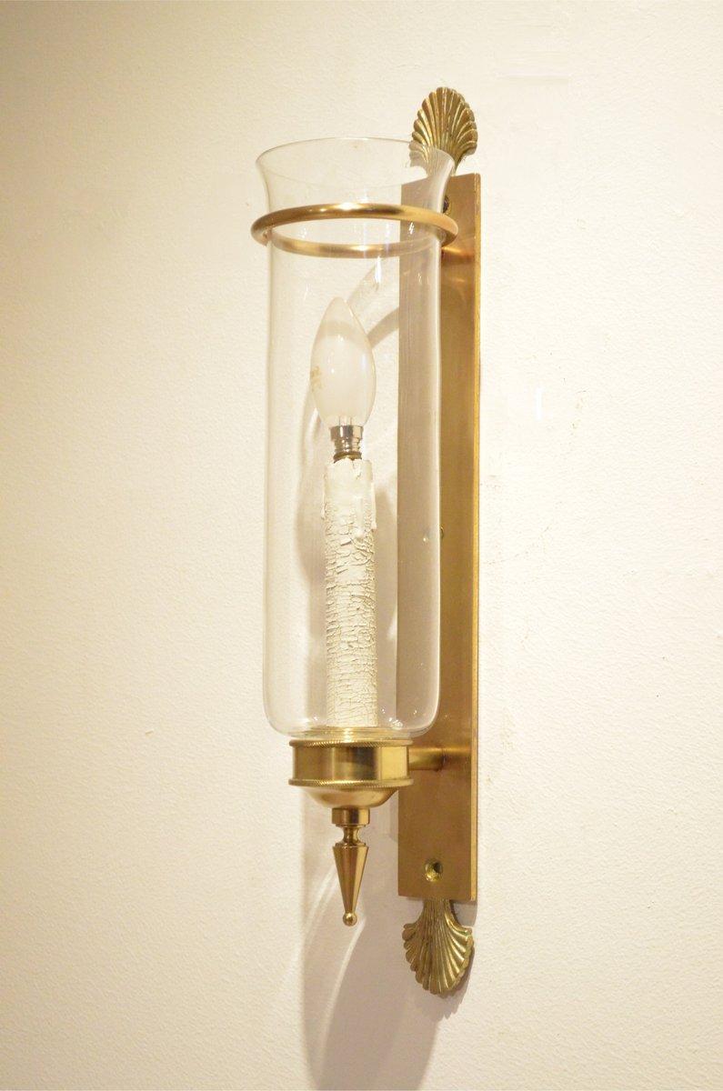 Französische Neoklassische Wandlampen aus Messing & Glas, 1940er, 2er ...