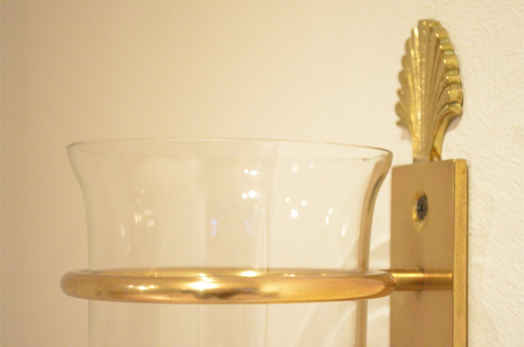 Applique da parete neoclassiche in ottone e vetro francia anni