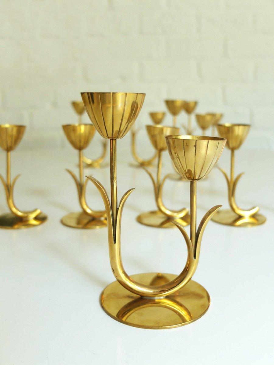 Vintage Scandinavian Brass Candlesticks by Gunnar Ander for Ystad ...