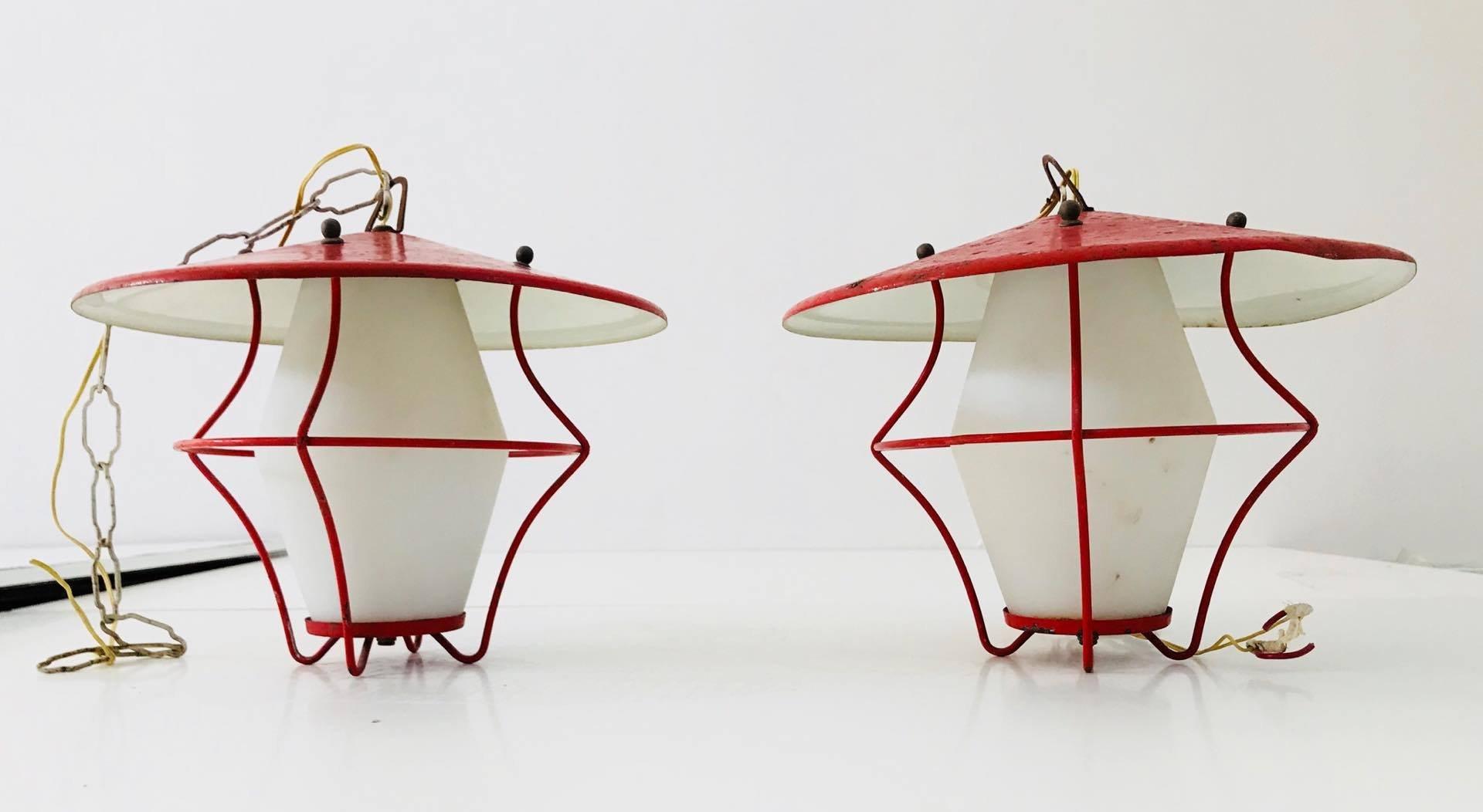 Italienische Opalglas Laterne von Stilnovo, 1950er