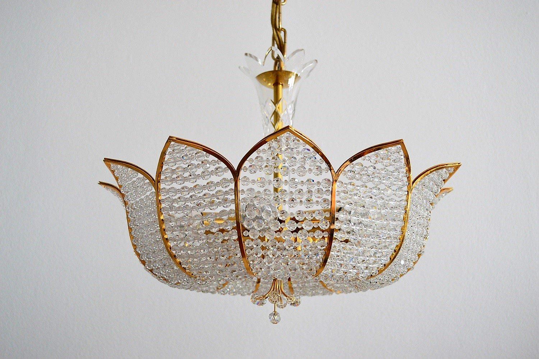 Vergoldeter Regency Kristall Kronleuchter von Palwa, 1970er