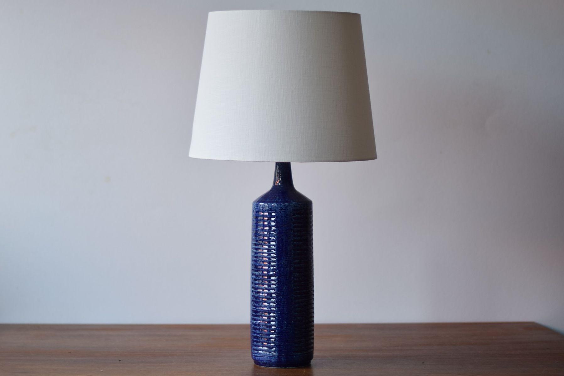 Große Dänische Mid-Century Tischleuchte in Blau von Per Linnemann-Schm...