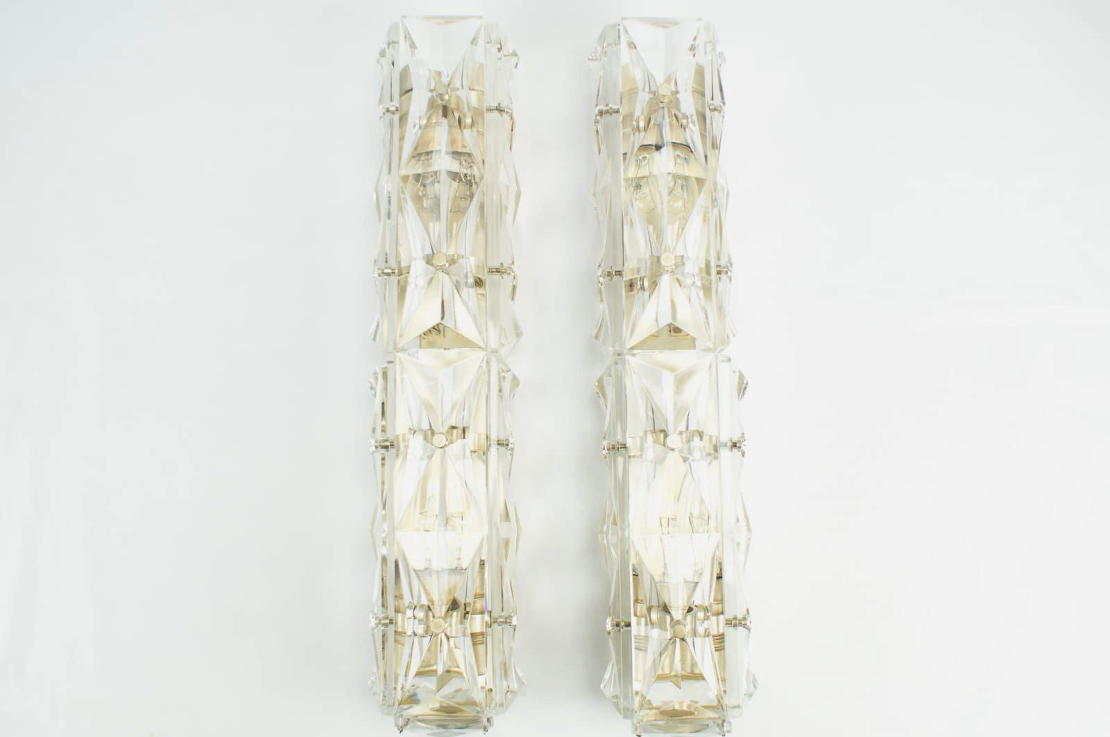 Röhrenförmige Wandleuchten aus Kristallglas von Kinkeldey, 1960er, 2er...