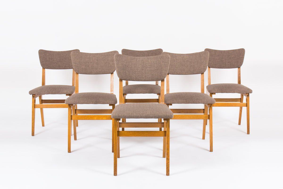 franz sische eichenholz st hle 1950er 6er set bei pamono kaufen. Black Bedroom Furniture Sets. Home Design Ideas