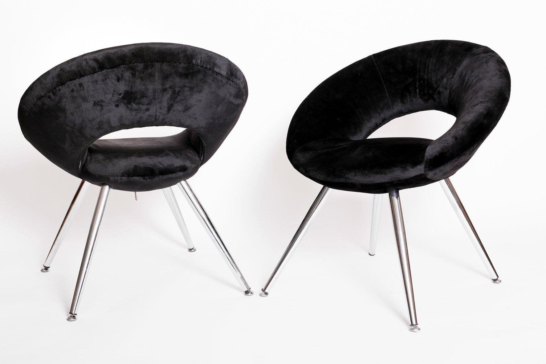 schwarze space age st hle aus samt 1960er 2er set bei pamono kaufen. Black Bedroom Furniture Sets. Home Design Ideas