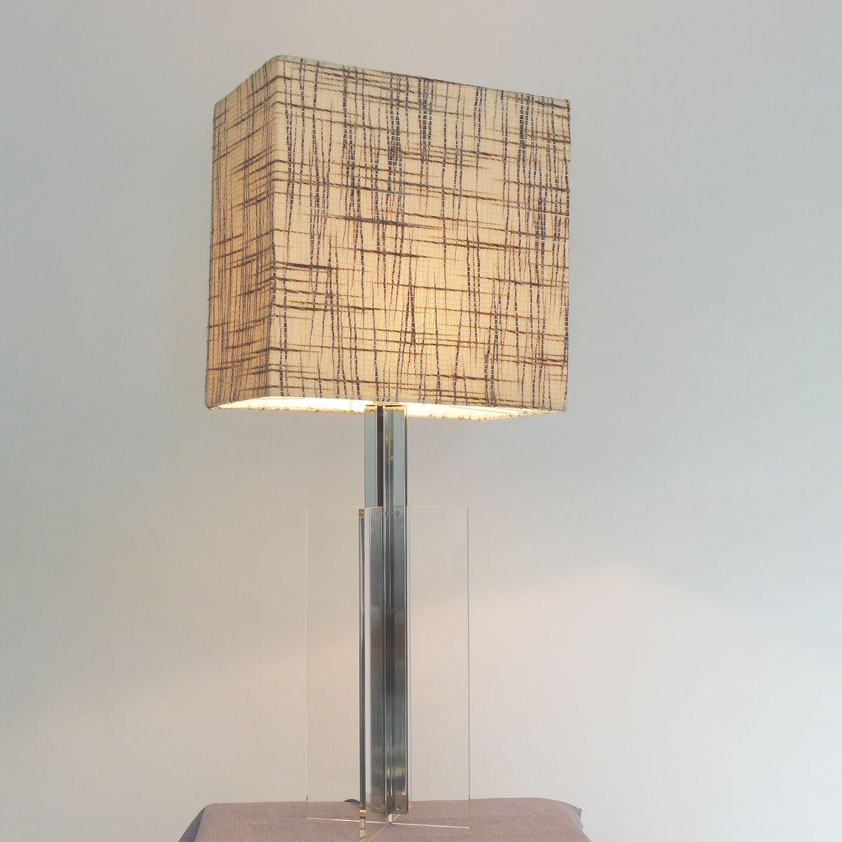 grande lampe de bureau en plexiglas transparent 1970s en vente sur pamono. Black Bedroom Furniture Sets. Home Design Ideas
