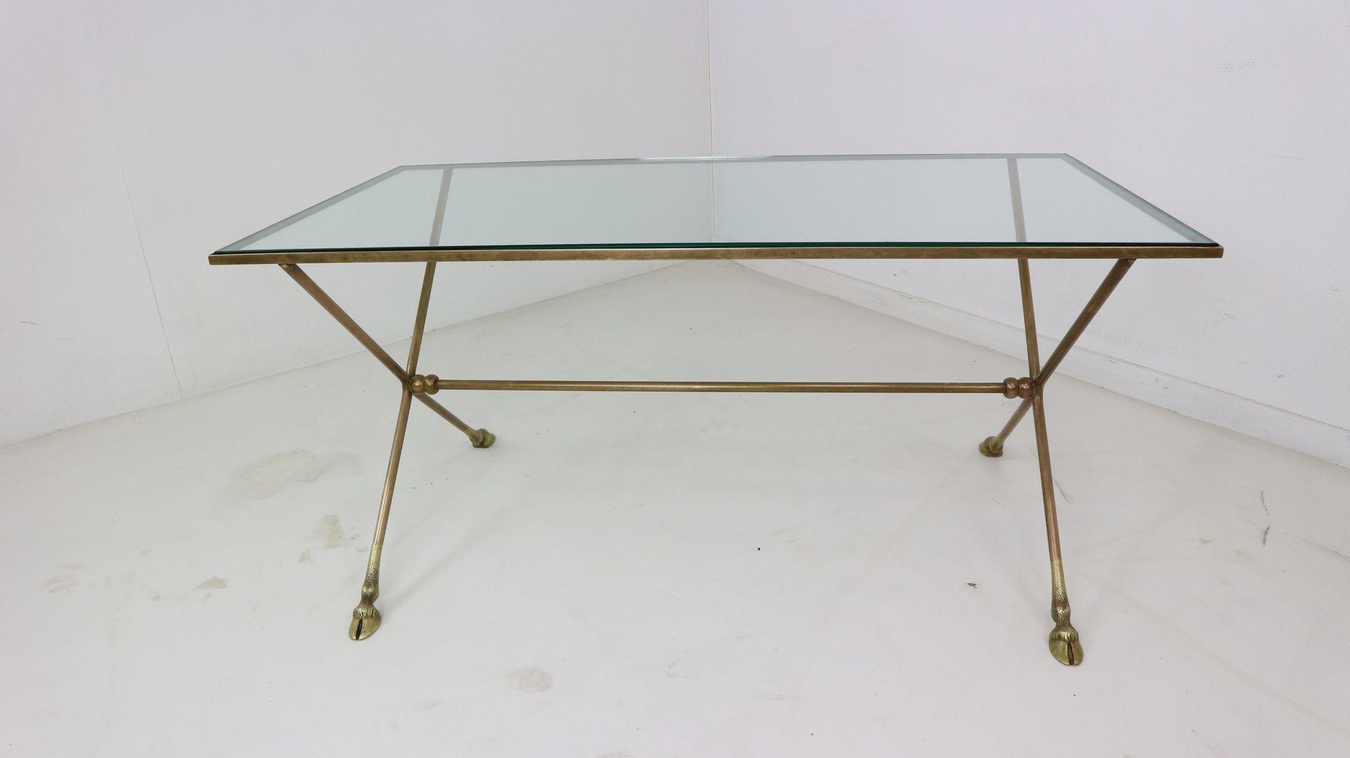 Französischer Glas & Metall Couchtisch, 1950er