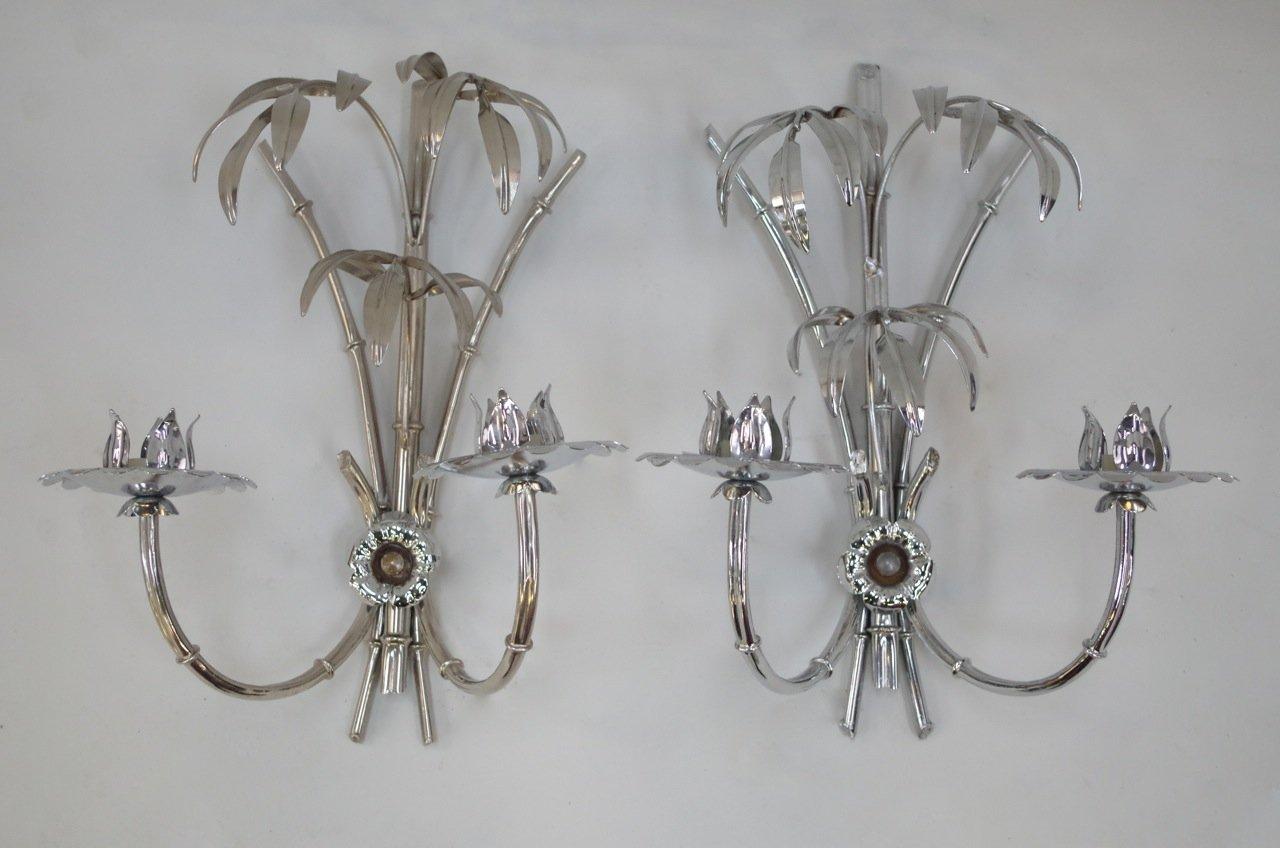 Chrom Palmen Wandlampen, 1970er, 2er Set