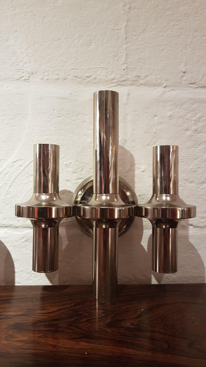Vernickelte Vintage Metall Wandlampen von Nagel und Stoffi, 2er Set