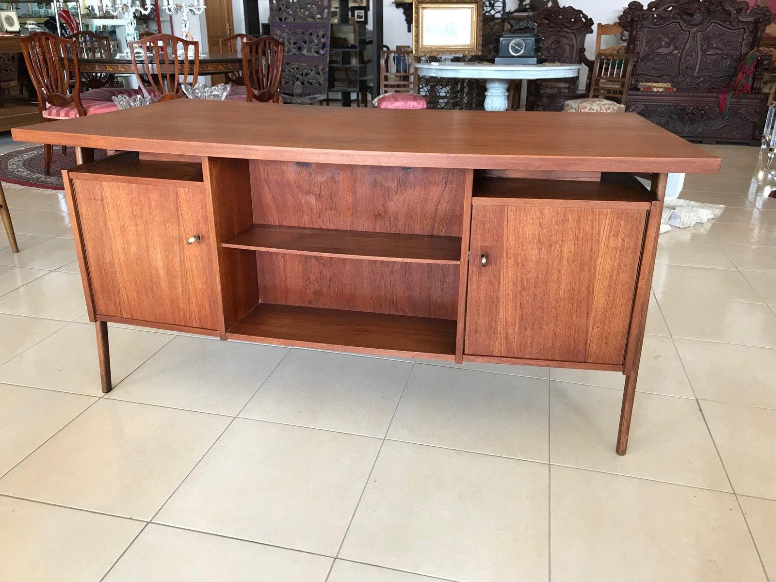 Danish double sided curved teak desk 1960s