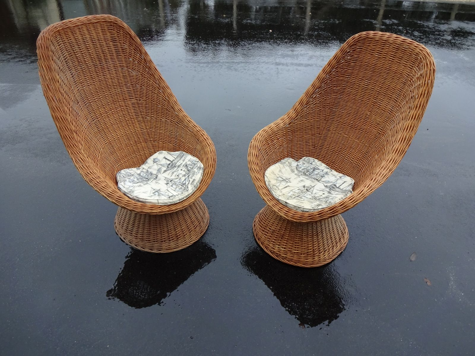 High Back Wicker Chairs 1960s Set Of 2