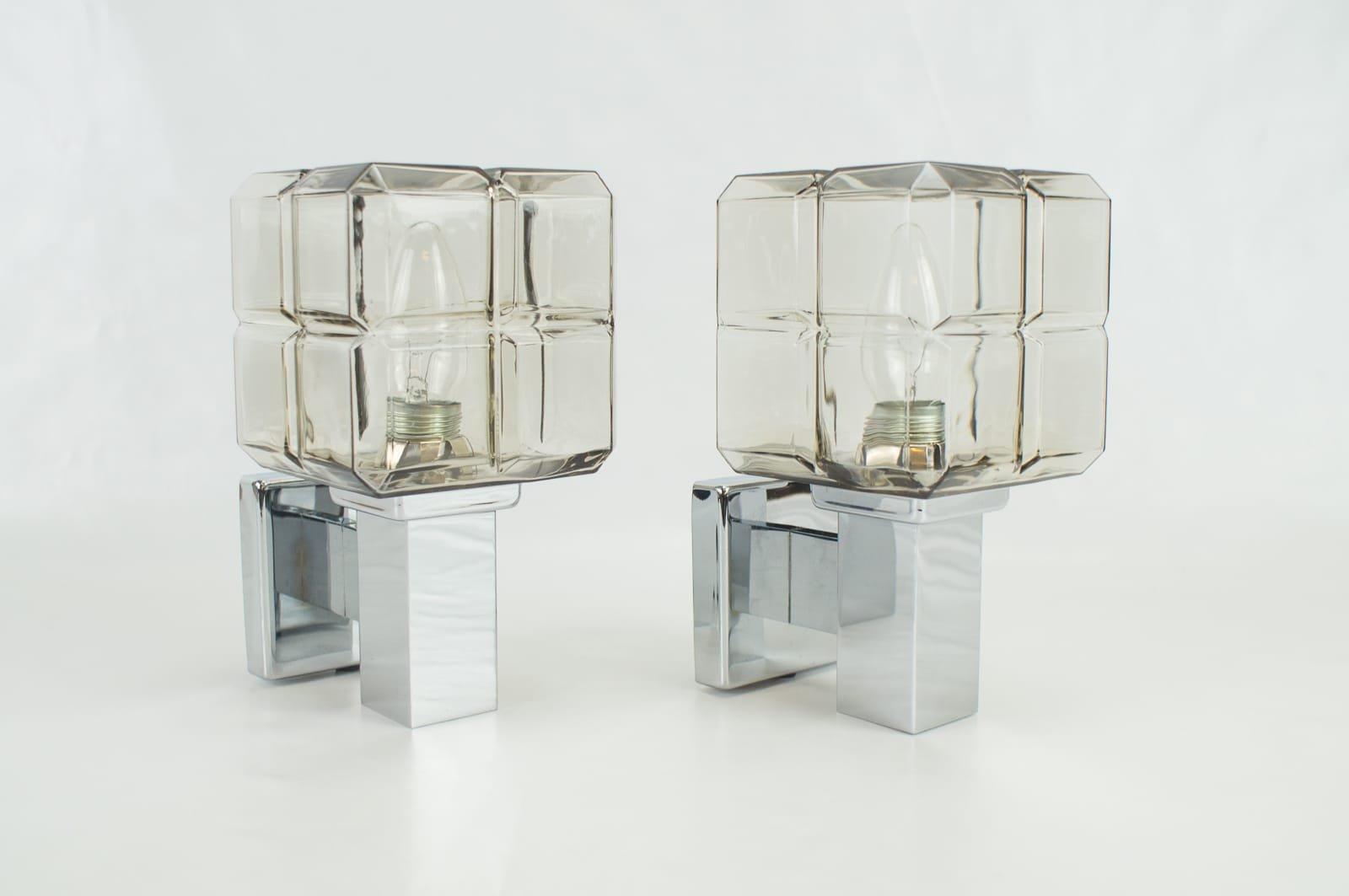 Würfelförmige Wandleuchten aus Chrom und Glas von Hillebrand, 1970er, ...