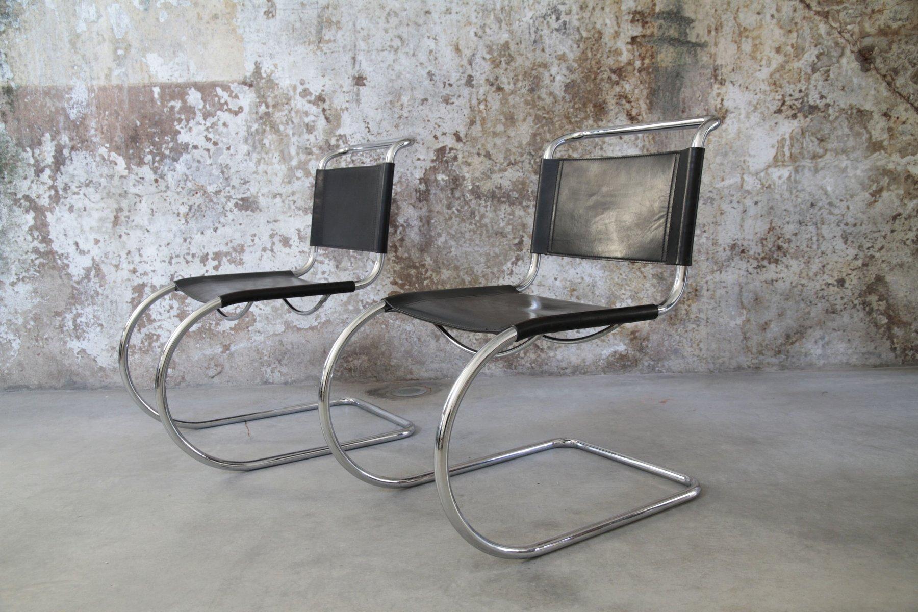vintage mr 10 stuhl aus stahlrohr von ludwig mies van der. Black Bedroom Furniture Sets. Home Design Ideas