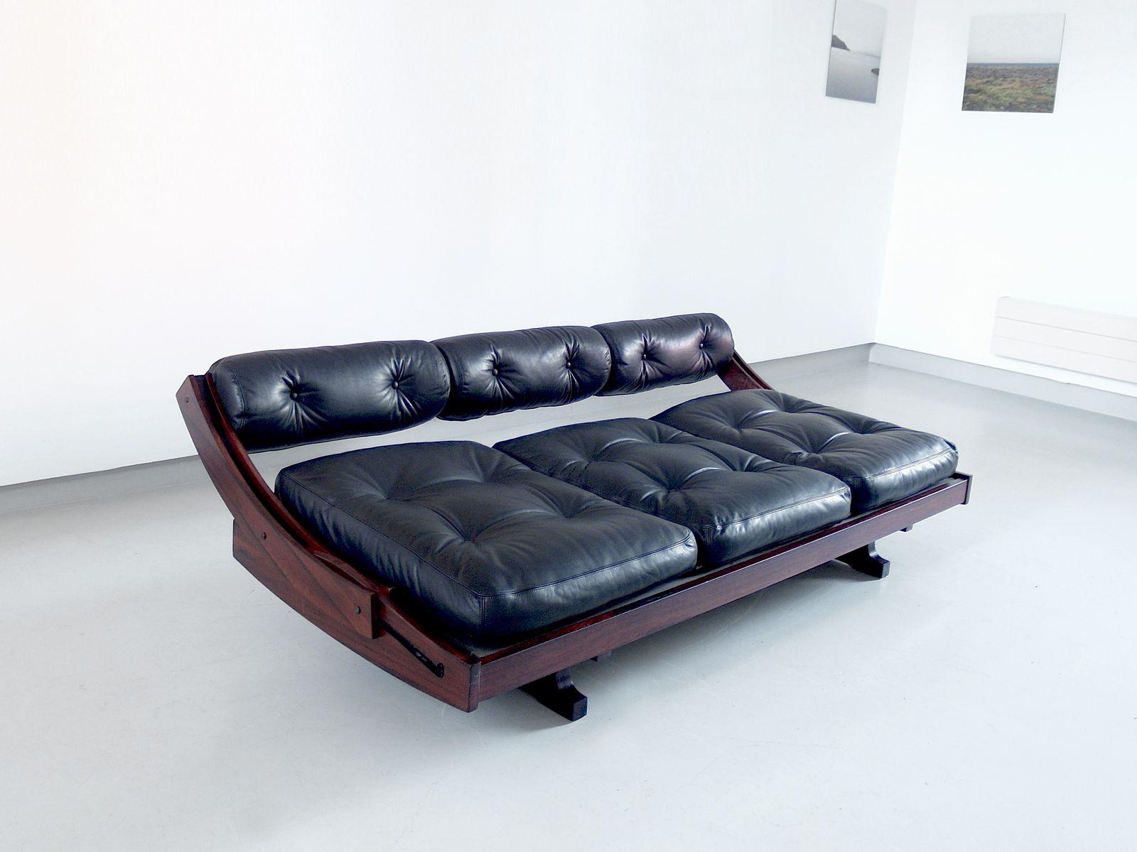 vintage modell gs 195 schlafsofa aus schwarzem leder von gianni songia f r sormani bei pamono kaufen. Black Bedroom Furniture Sets. Home Design Ideas