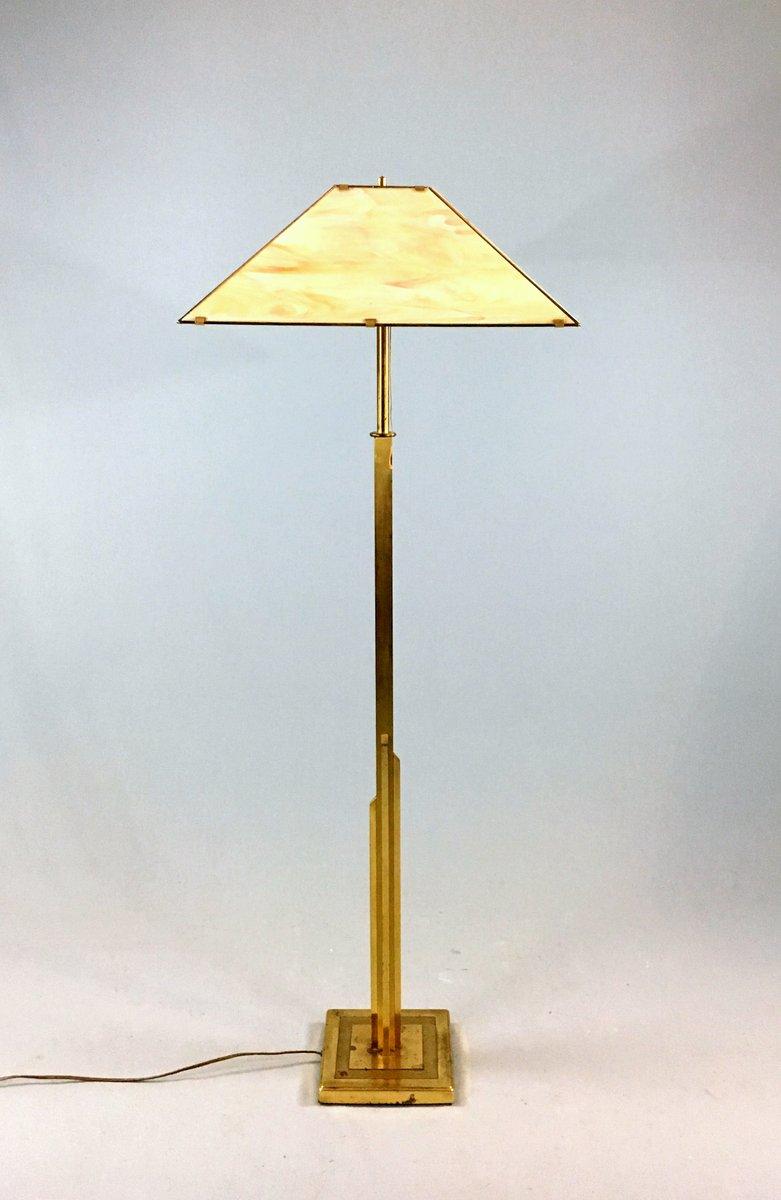 Vintage Stehlampe aus Messing & Opalglas