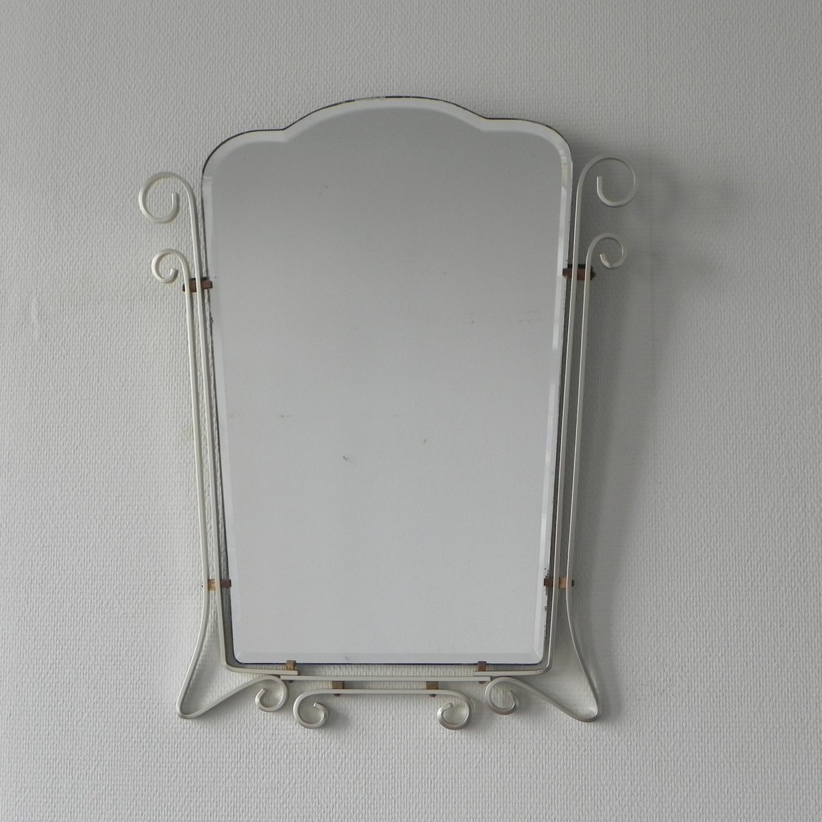 Vintage Belgian Mirror with Aluminum Frame for sale at Pamono