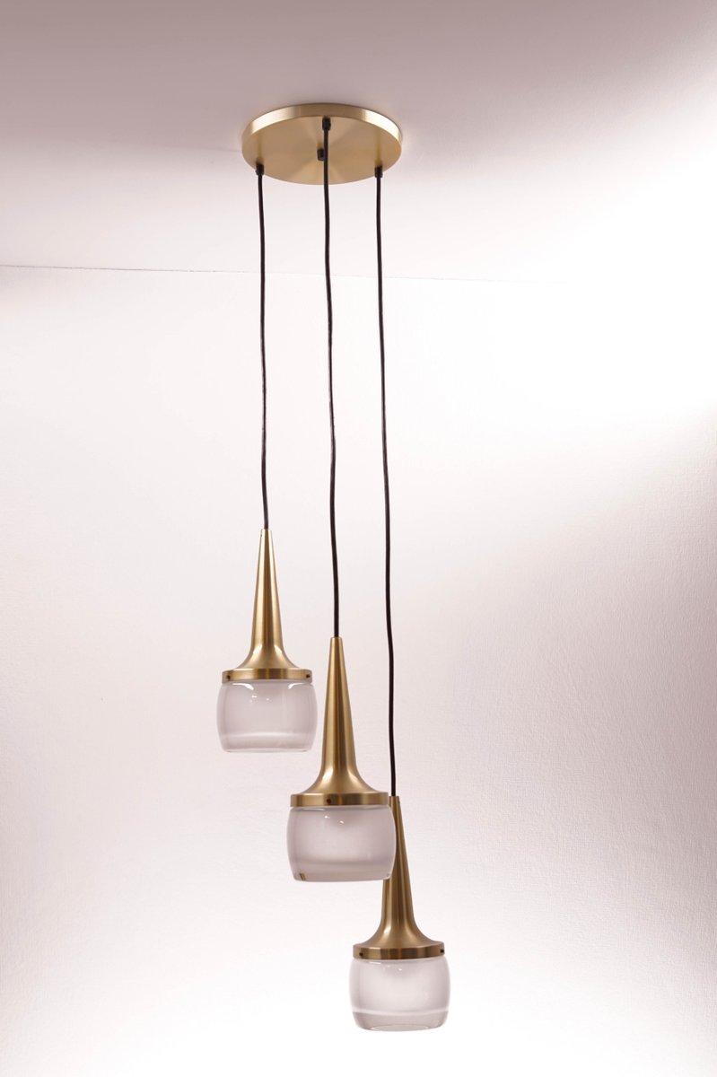 Vintage Kaskaden-Kronleuchter aus Messing & Glas von Staff