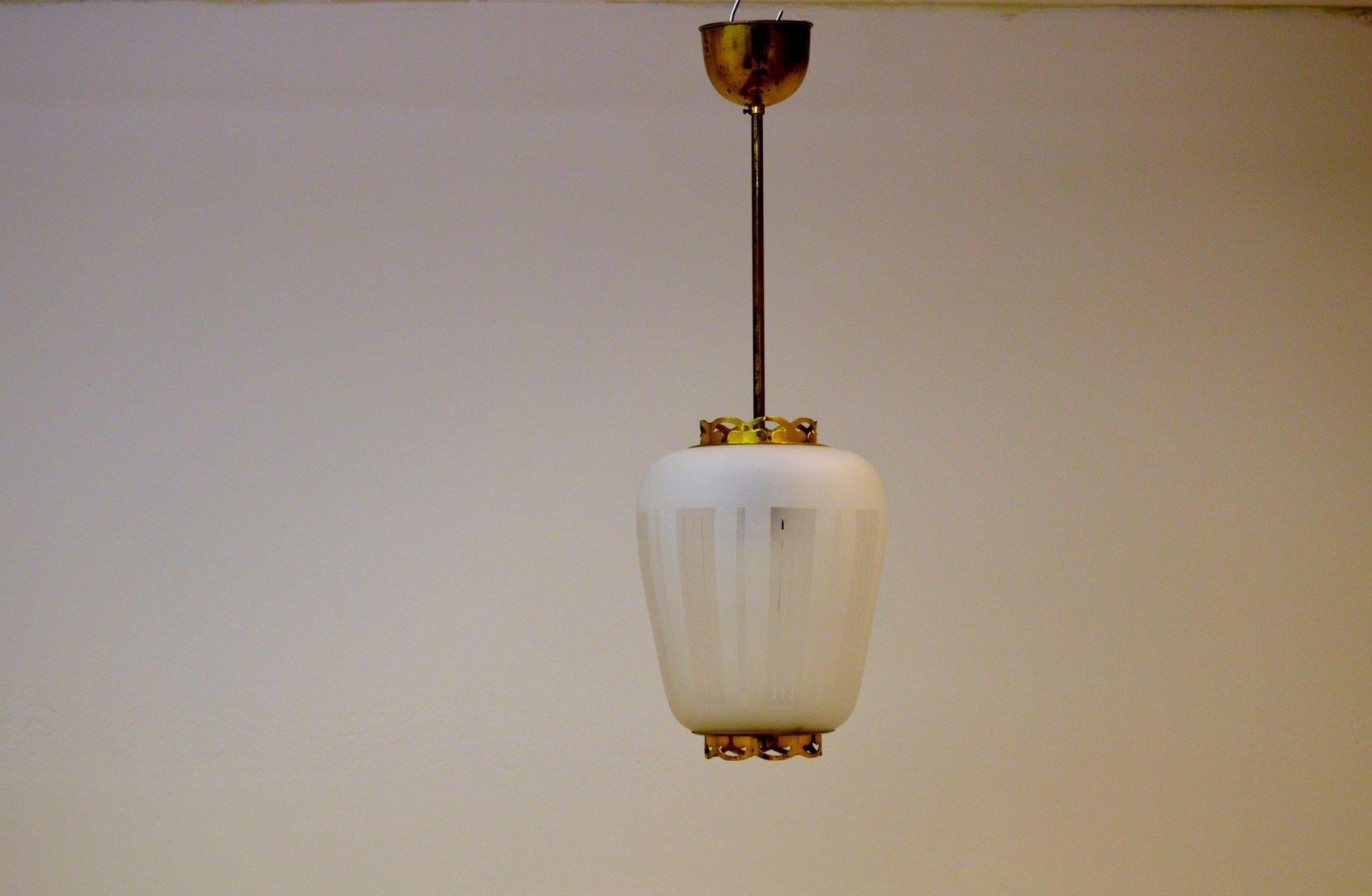 Mid-Century Hängelampe aus Messing & Geätztem Glas