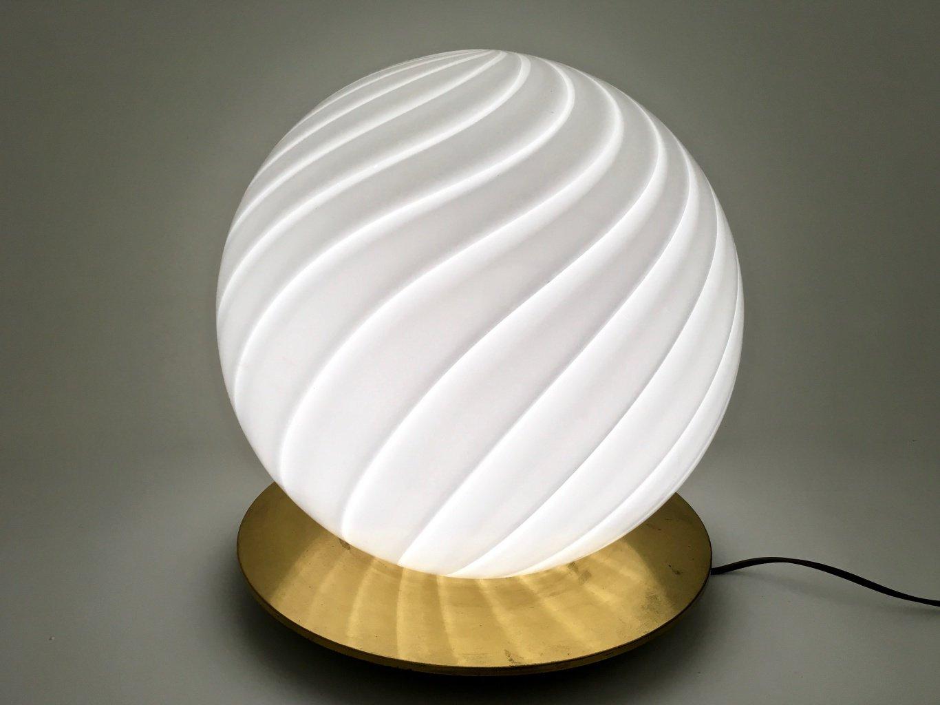 Große Runde Murano Glas Tischlampe von Venini, 1970er