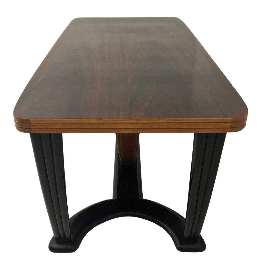 Table de salle manger en acajou et bois noirci avec plateau en verre opalin noir 1940s en for Table de salle a manger en verre