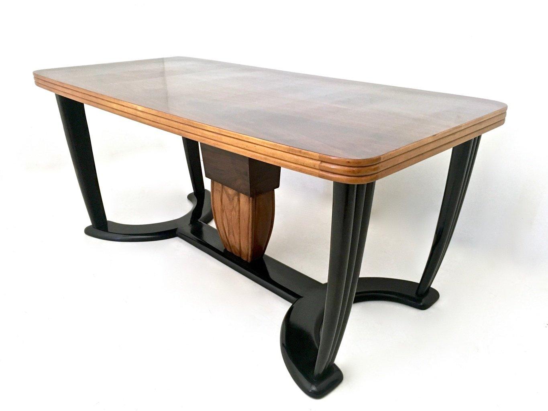 Table de salle manger en acajou et bois noirci avec - Table verre et bois salle a manger ...