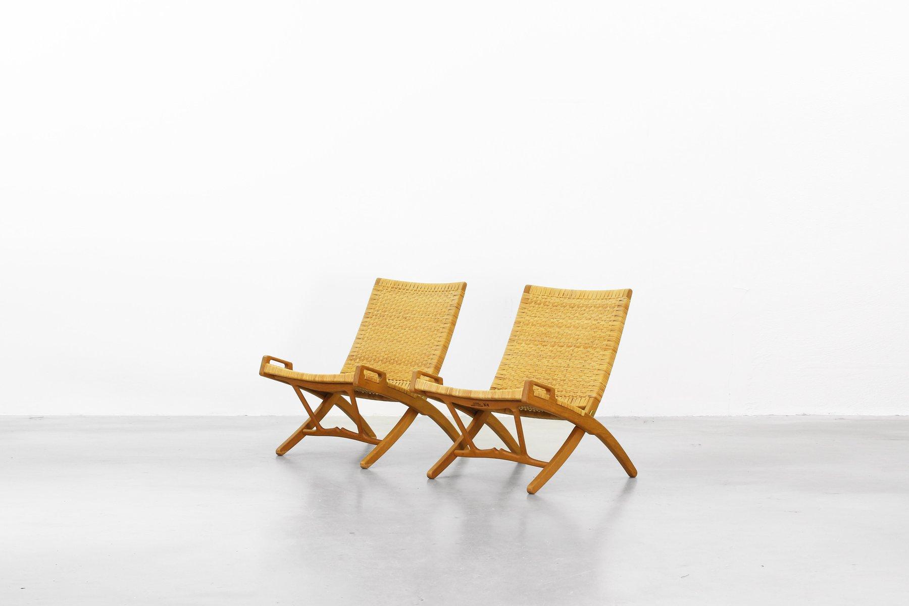 Klappbare Mid-Century Sessel von Hans J. Wegner für Johannes Hansen, 2...