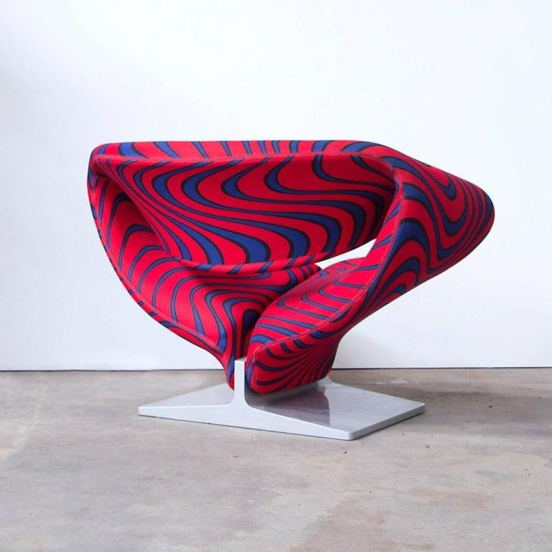 Pierre Paulin Ribbon Chairs In Missoni Fabric At 1stdibs: Ribbon Chair By Pierre Paulin For Artifort, 1966 For Sale