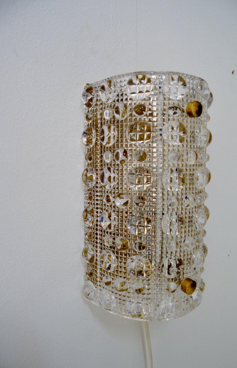 Mid-Century Wandleuchte aus Glas & Messing von Carl Fagerlund für Orre...