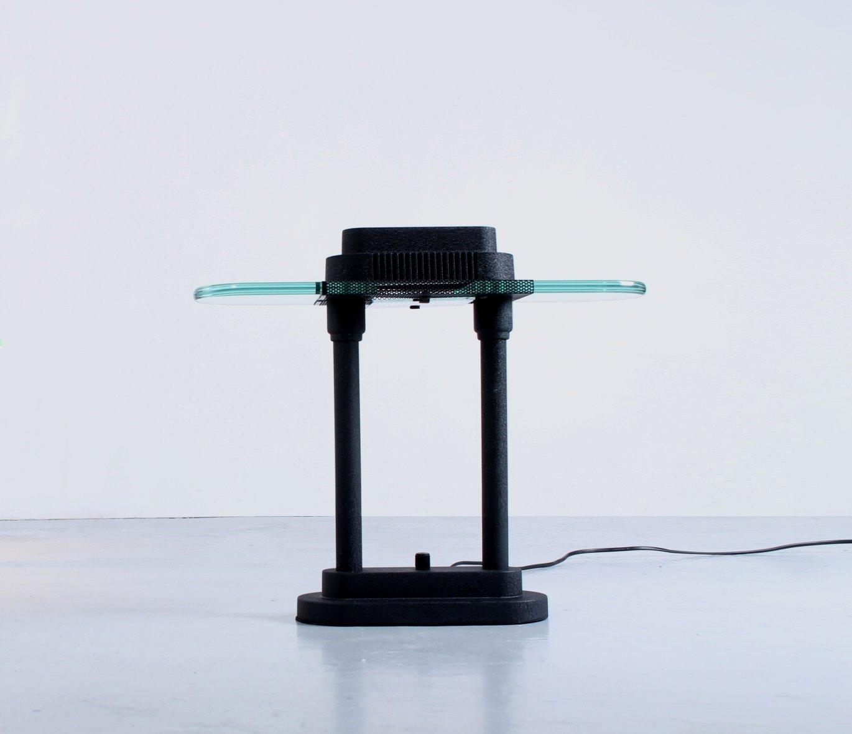 Schwarze Schreibtischlampen, 1980er, 2er Set