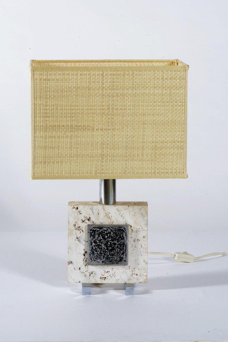 Italienische Tischlampen aus Travertin & Chrom, 1970er, 2er Set