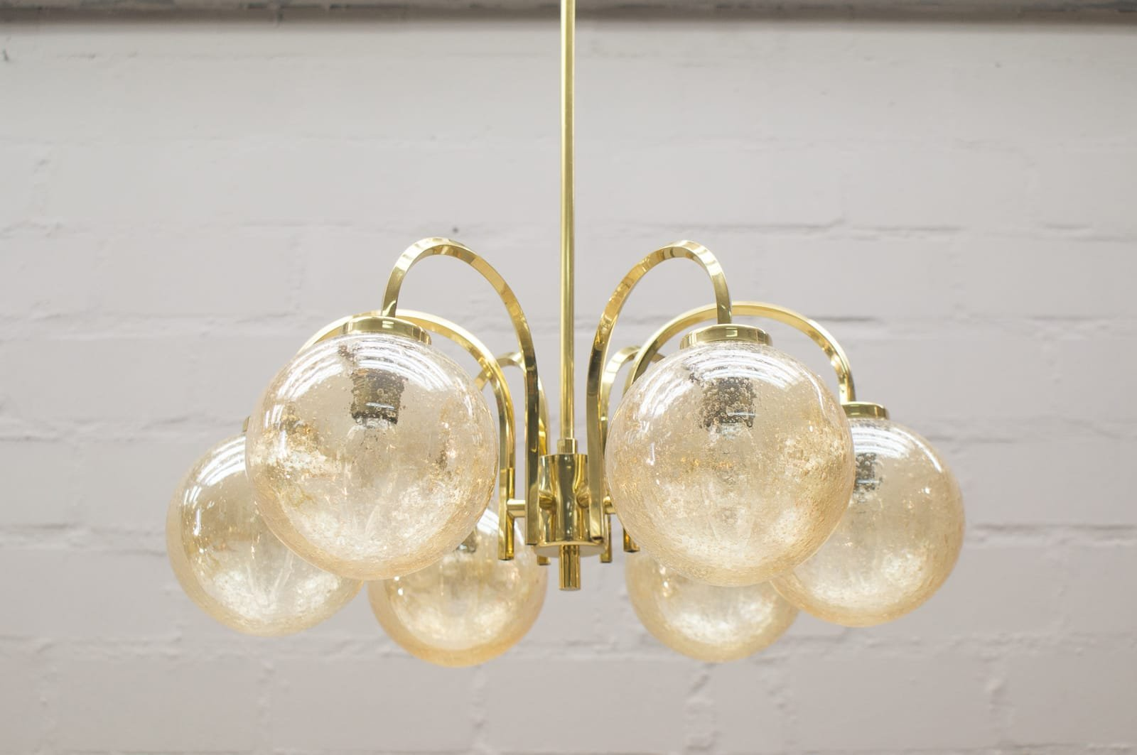 goldene vintage deckenlampe mit 6 leuchten 1960er bei. Black Bedroom Furniture Sets. Home Design Ideas