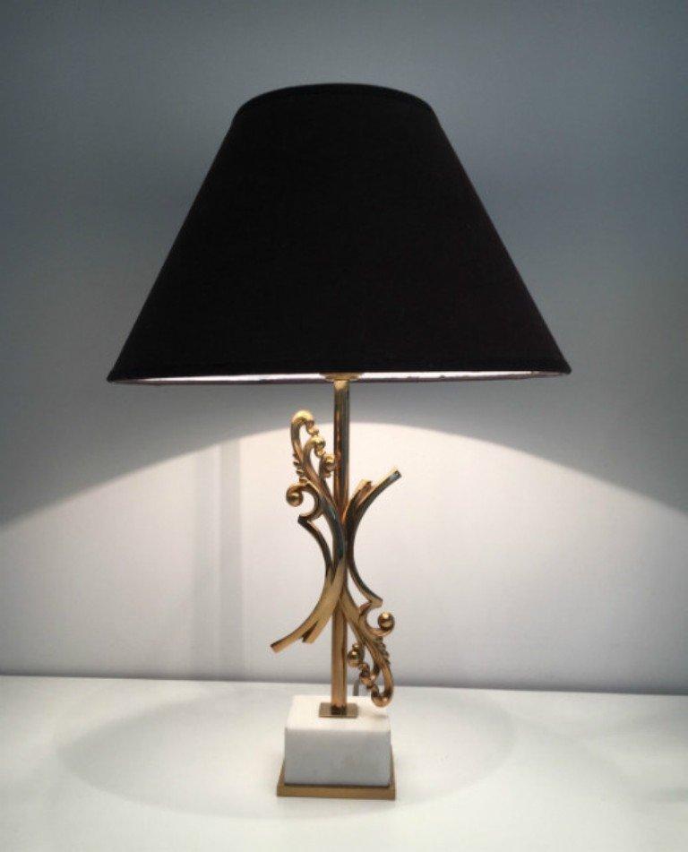Messing Lampen mit Weißen Marmorsockeln, 1970er, 2er Set