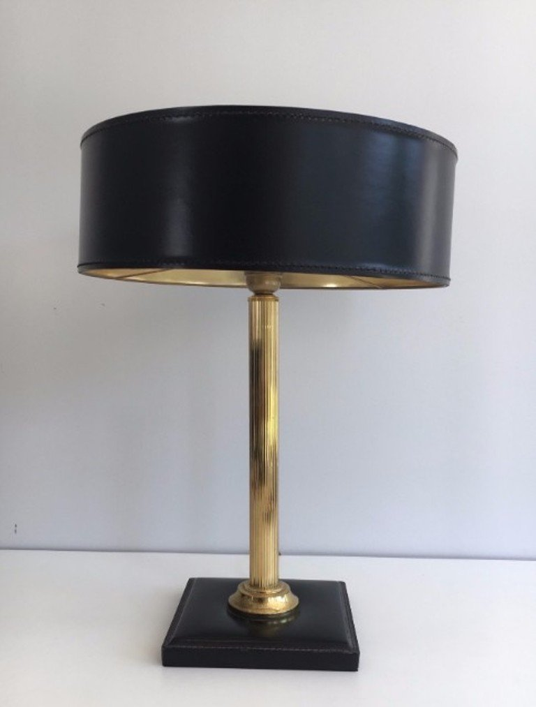 Mid-Century Leder & Messing Tischlampe, 1960er