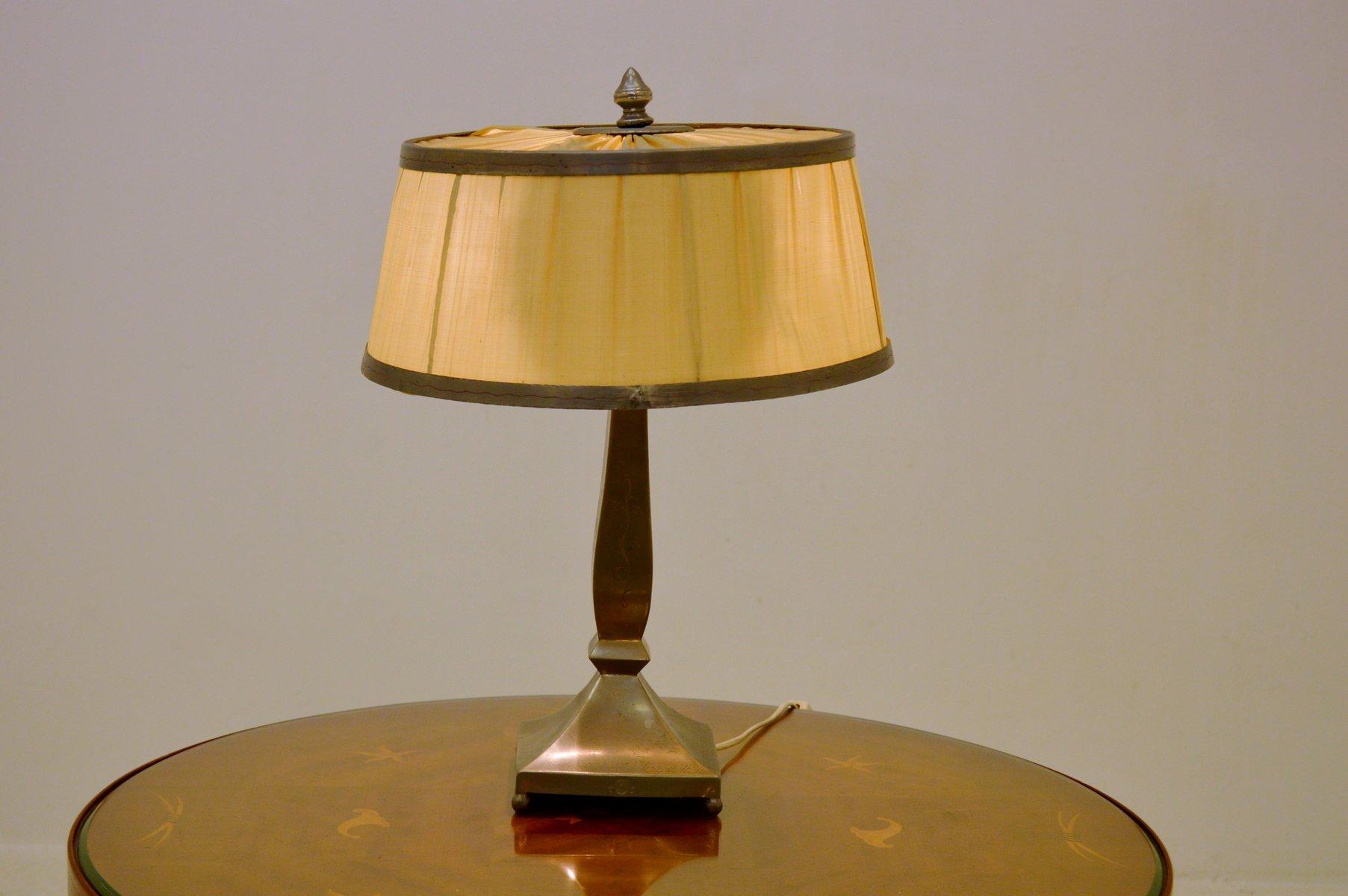 Art Deco Zinn Tischlampe von Lundin, 1932