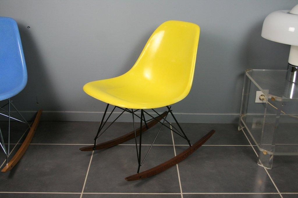 Gelber Vintage Schaukelstuhl Von Charles U0026 Ray Eames Für Herman Miller
