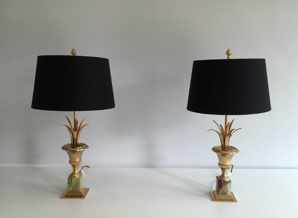 Vergoldete Metall Lampen mit Onyx Sockeln, 1970er, 2er Set