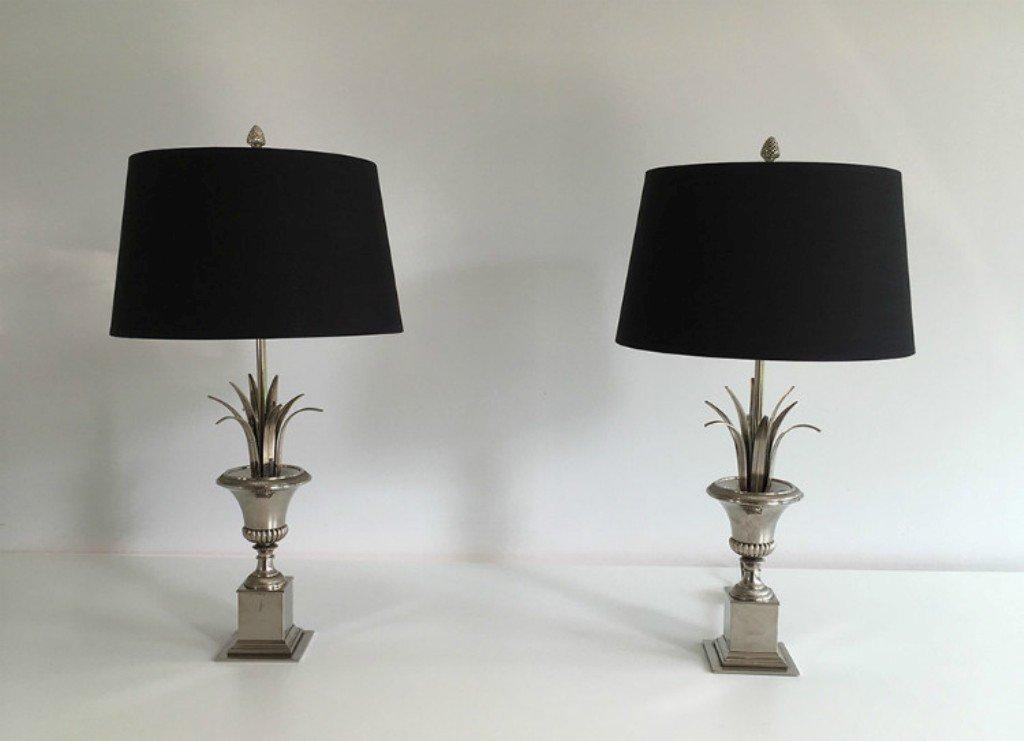 Vintage Tischlampen in Silber & Schwarz, 1970er, 2er Set