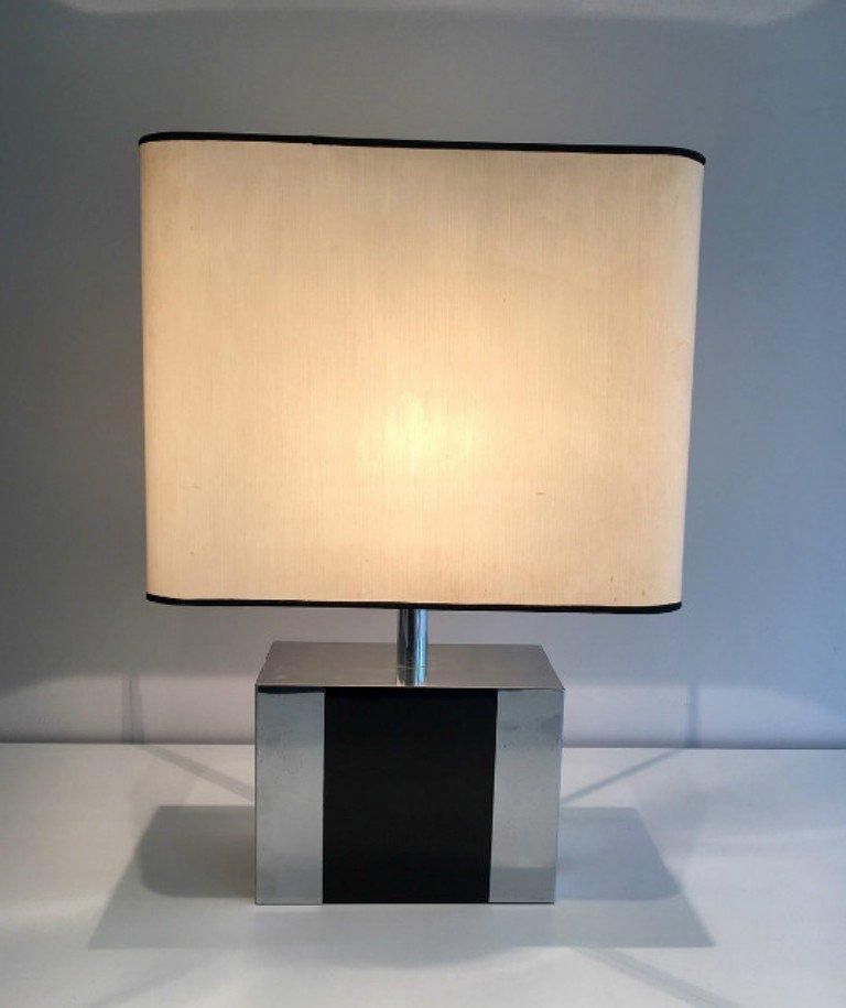 Ebonisierte Lampe aus Holz & Chrom, 1970er