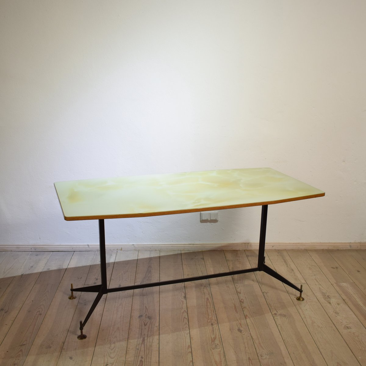 MidCentury Italian Glass Top Dining Table Or Desk S For Sale - Glass top mid century dining table