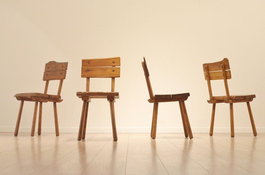 Mid Century French Brutalist Oak Dining Chairs, Set Of 4