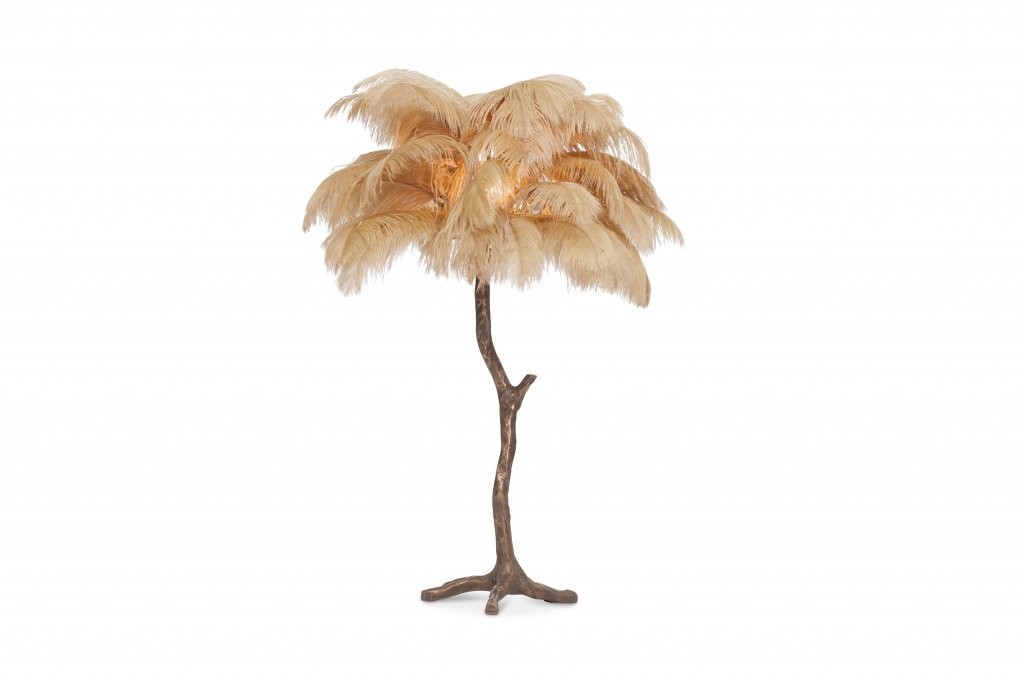 Vintage Bronze Tree Feather Lamp For Sale At Pamono