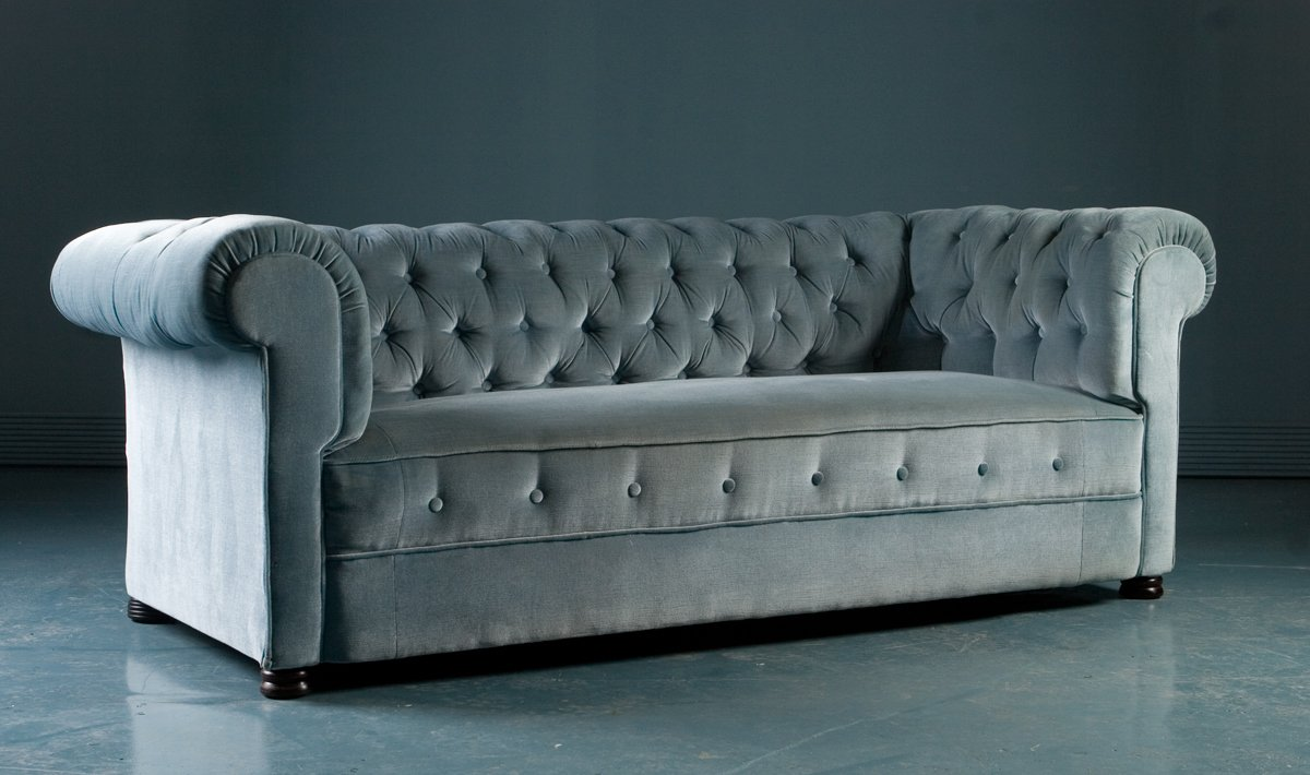 Antique Chesterfield Style Sofa In Blue Velvet 1900s