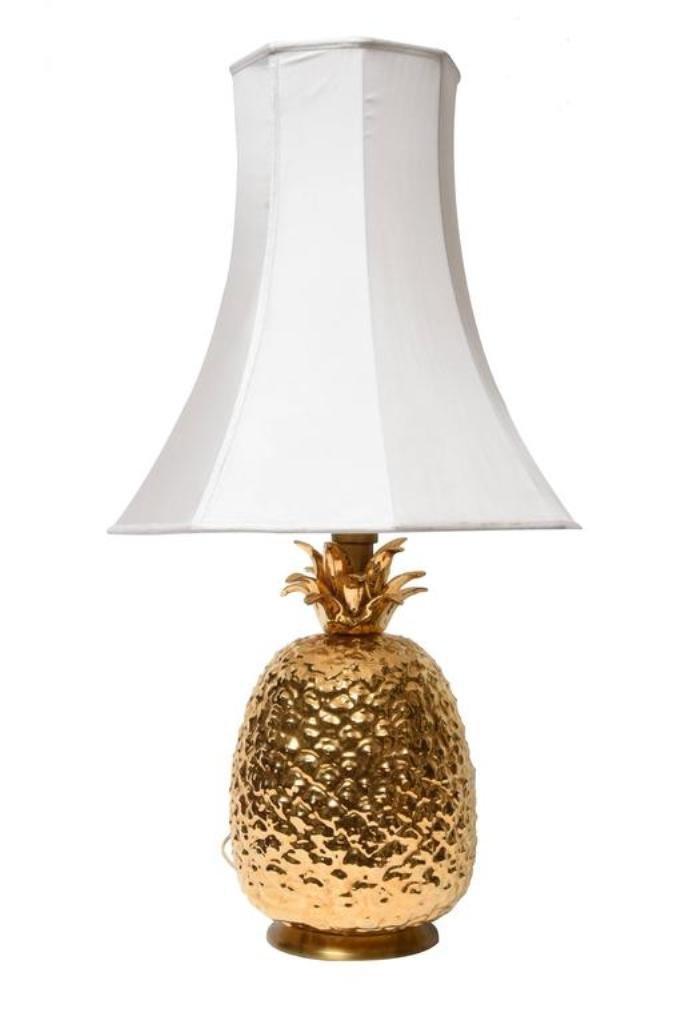 Ananas Tischlampe aus Vergoldeter Keramik, 1970er