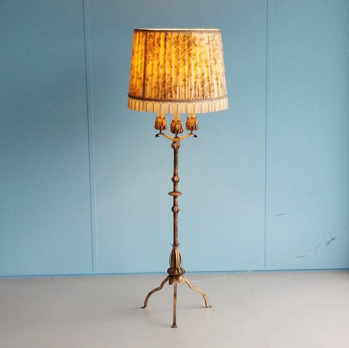vergoldete metall stehlampe mit k nstlichen kerzen 1960er bei pamono kaufen. Black Bedroom Furniture Sets. Home Design Ideas